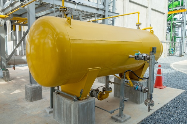 Gas metering tank station and pipeline at power plant
