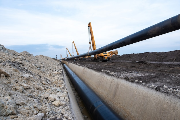 Gas pipeline construction.