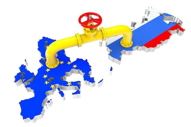 흰색 배경에 러시아 및 유럽 연합 지도 위의 가스 파이프라인