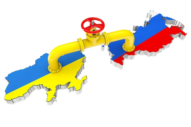 흰색 배경에 러시아와 우크라이나 지도를 통해 가스 파이프라인
