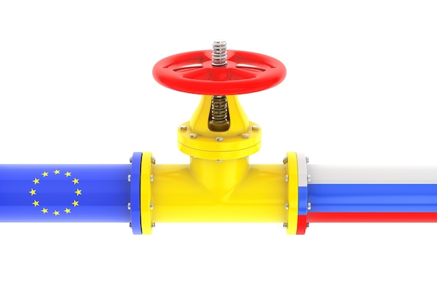 Gas pipeline with russian and european union flags on a white background