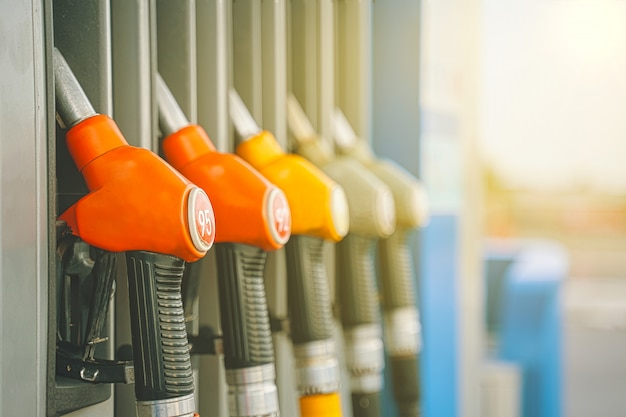 Gas station. gas pump nozzles on the petrol station.