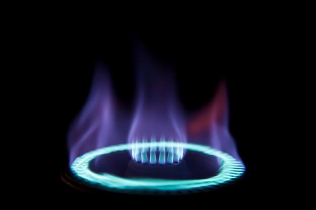 Gas stove burner in the dark