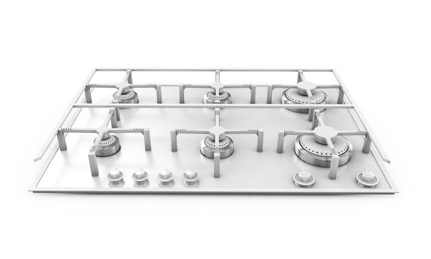가스 스토브 포함된 유리 금속 3d 렌더링 그림자와 흰색 배경에