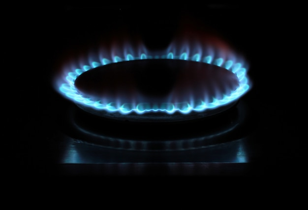 Gas stove on