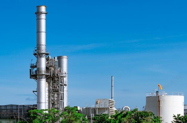 ガスタービン発電所。工業団地の支援工場のエネルギー