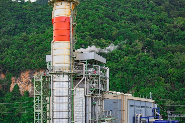 Gas turbine electrical power plant with in mountain power for factory energy concept.