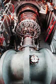 Gas turbine turbine generator with a turbocharger general plan in the module. clean energy
