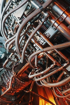 Gas turbine turbine installation in power plants and aviation.