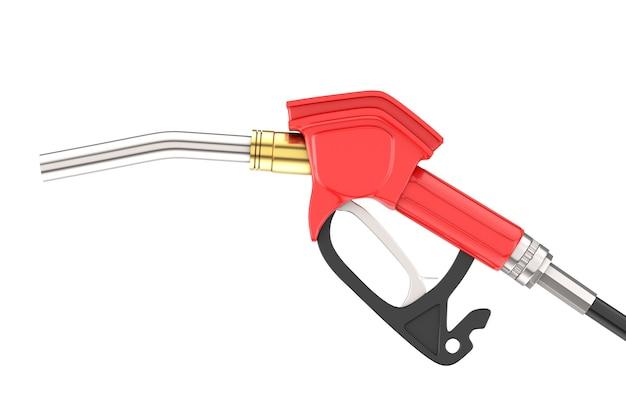 가솔린 권총 펌프 연료 노즐, 흰색 바탕에 주유소 디스펜서. 3d 렌더링