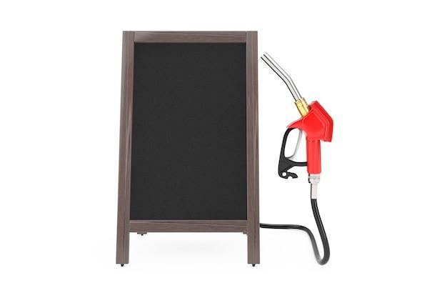 ガソリンピストルポンプ燃料ノズル、空白の木製メニュー黒板が付いているガソリンスタンドディスペンサー白い背景の屋外ディスプレイ。 3dレンダリング