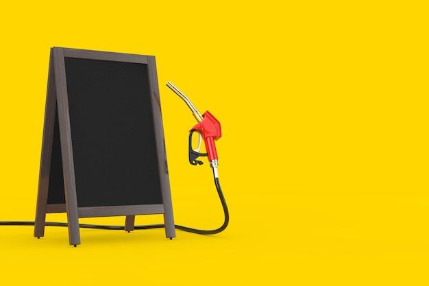 ガソリンピストルポンプ燃料ノズル、空白の木製メニュー黒板付きガソリンスタンドディスペンサー黄色の背景に屋外ディスプレイ。 3dレンダリング