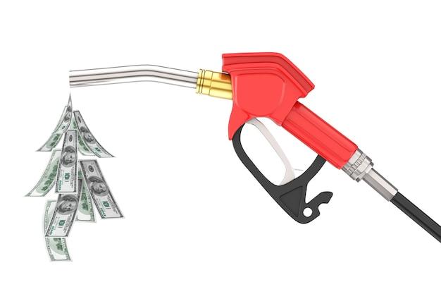 가솔린 권총 펌프 연료 노즐, 흰색 바탕에 달러 지폐 방울이 있는 주유소 디스펜서. 3d 렌더링