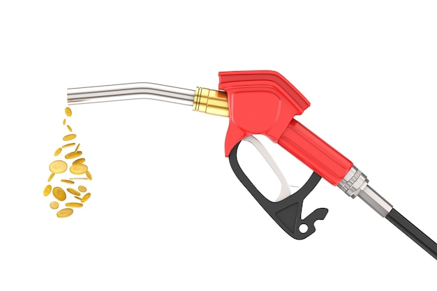 가솔린 피스톨 펌프 연료 노즐, 흰색 바탕에 달러 동전 방울이 있는 주유소 디스펜서. 3d 렌더링