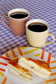 Gata armenian traditional sweet soft bread with pair of hot turkish coffee for breakfast
