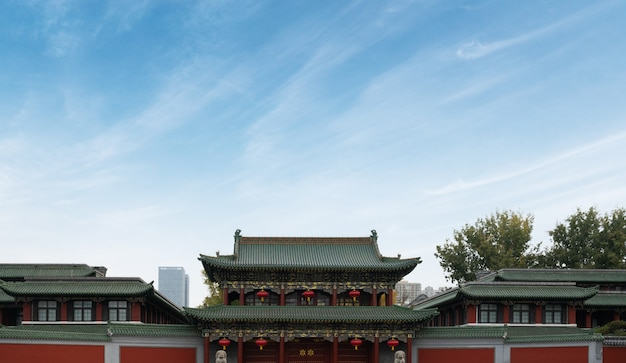 The gate of ancient chinese architecture in taiyuan, shanxi province, china