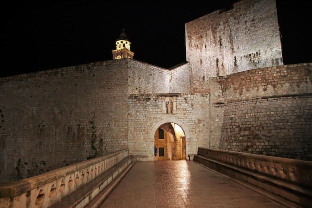 The gate of the fortress in dubrovnik city on adriatic sea, croatia