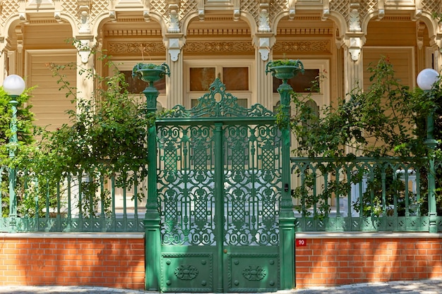 The gate of an old estate on the island of buyukada in turkey.