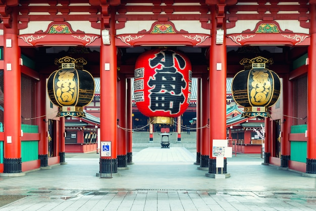 Gate of sensoji shrine with big red lantern.