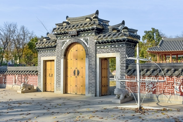 Gate in traditional korean style entrance to the korean park