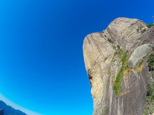 Gavea stone in rio de janeiro with a beautiful blue sky.