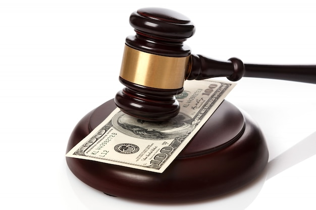 Gavel and banknotes