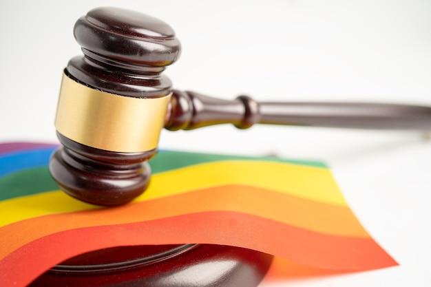 Lgbt 프라이드 월의 무지개 깃발 상징에 판사 변호사를 위한 디노