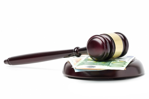 Gavel for judge and euro banknotes