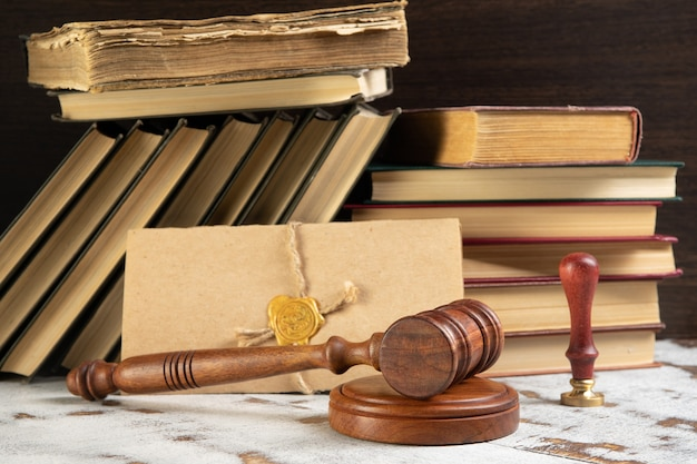Gavel notary's public and stamp on testament and last will. notary public tools