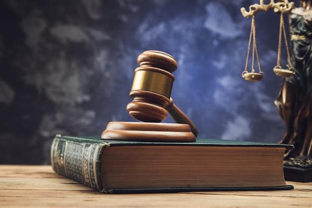 Молоток на книгах с символом статуи правосудия. понятие юридического права