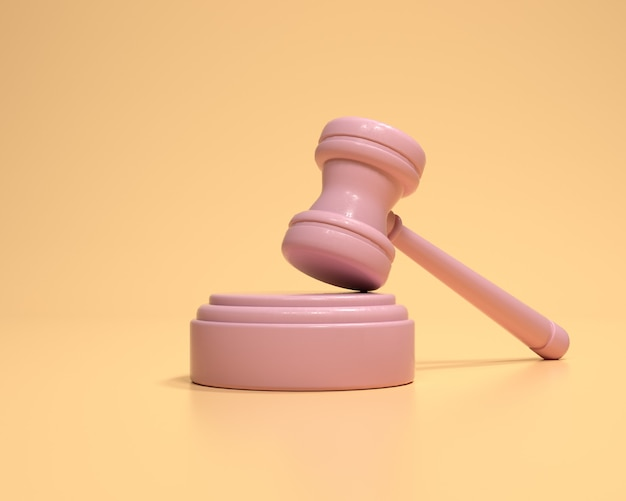 黄色の背景にガベル。オークション裁判所のハンマー入札権限のシンボル、法律の概念。 3dレンダリングイラスト