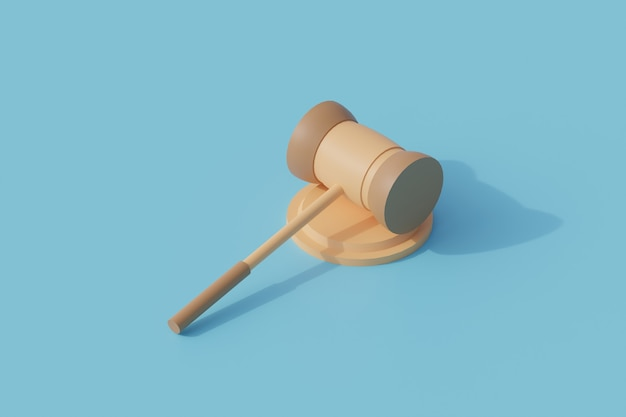 Молоток одиночный изолированный объект. 3d визуализация иллюстрации изометрии