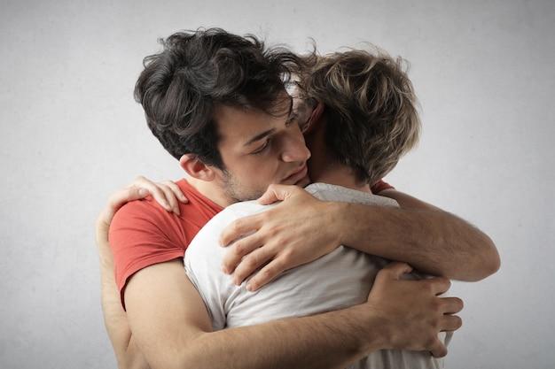 Gay couple hugging