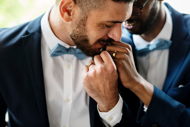 Gay couple kissing hands love