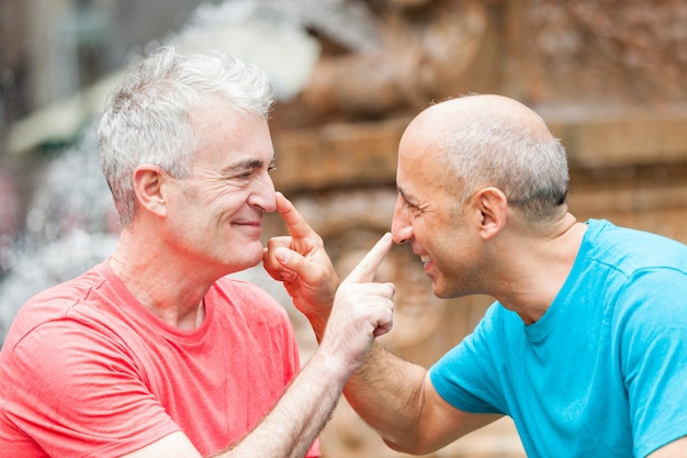 Gay couple at park in new york
