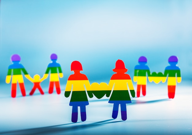 Gay couple, people, gay pride,  homosexual concept rainbow flag stripes background