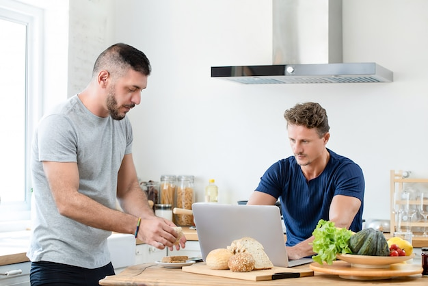 Gay couple spending morning time together