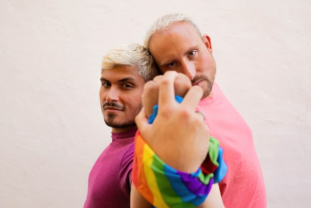 Gay couple supporting lgbt rights