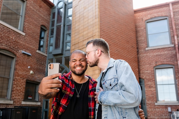 Gay couple taking selfies on a date