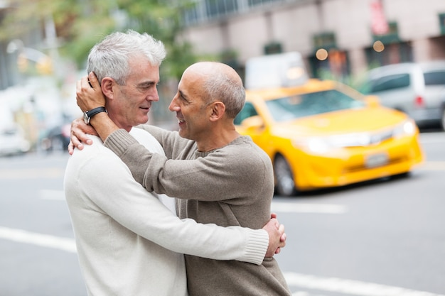 Gay couple with traffic  in new york