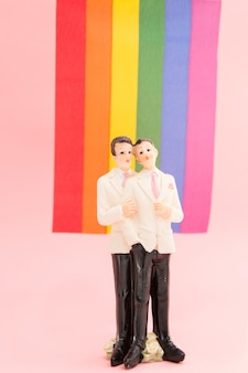 Gay groom cake toppers in front of rainbow flag