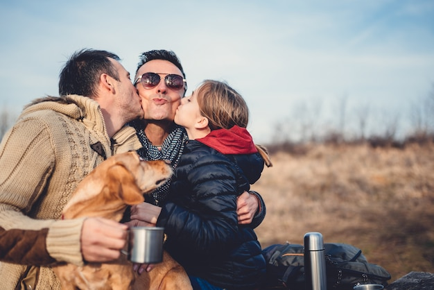 Gay parents with daughter and dog