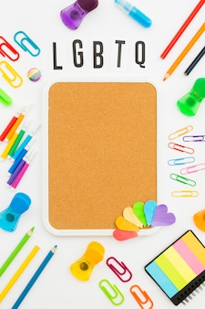 Gay pride concept copy space stationery items