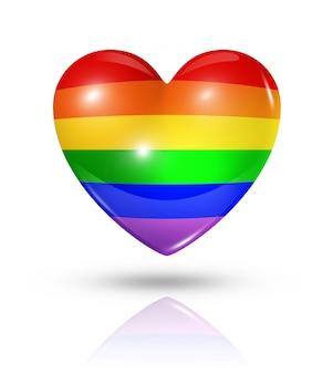 Gay pride love symbol heart flag icon