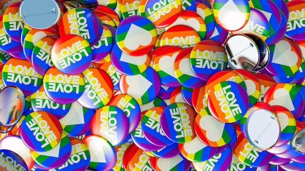 Гей-прайд кучу кнопок с радужным флагом 3d иллюстрация