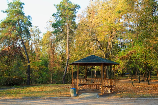 Gazebo in the autumn park. autumn trees and leaves.