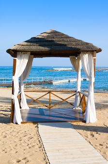 Gazebo on mediterranean beach, paphos. cyprus