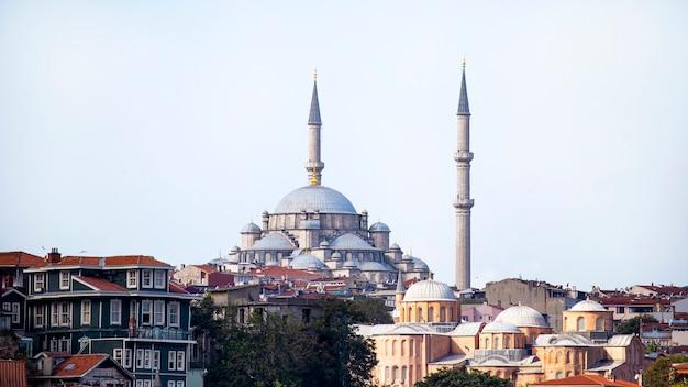 Мечеть гази атик али паша в стамбуле в пасмурную погоду с жилыми домами вокруг, турция