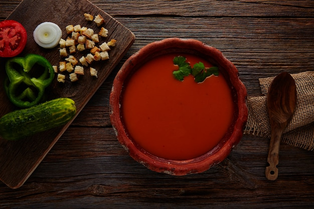Gazpacho andaluz tomato soup and vegetables