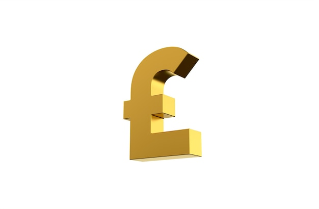 Gbp pound sterling currency symbol in 3d